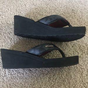 845a43e2fbac8 Coach Shoes - Coach black foam wedge sandals